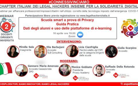 """Webinar """"Scuola smart a prova di privacy: guida pratica"""". Dati degli alunni e uso corretto delle piattaforme eLearning."""